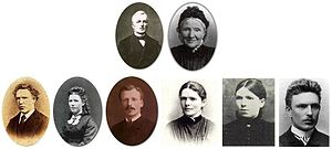 Vincent van Gogh chronology - The Van Gogh family: On top Theodorus van Gogh (1822-1885) and Anna Cornelia van Gogh-Carbentus (1819-1907), below left to right Vincent Willem (1853-1890), Anna Cornelia (1855-1930), Theo (1857-1891), Elisabetha Huberta (1859-1936), Willemina Jacoba (1862-1941) and Cornelis Vincent (1867-1900)