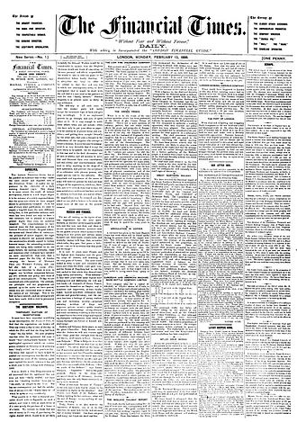 Financial Times - The front page of the Financial Times on 13 February 1888.