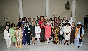 First Lady - A group of first ladies assemble in the Metropolitan Museum of Art in New York City, September 22, 2008