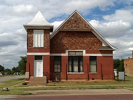 Former First Presbyterian Church, now a city office building. Listed on the National Register of Historic Places (NRHP). First Presbyterian Church Waurika.jpg