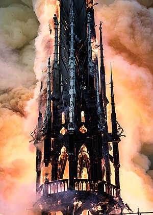 burning spire of Notre-Dame