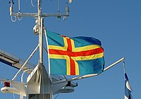 Flag of Aaland on ferry.jpg