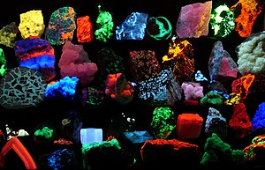 Fluorescence - Fluorescent minerals emit visible light when exposed to ultraviolet light.