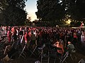 """Football fans at """"Gemeenteplein, 2550 Kontich, Province of Antwerp, Kingdom of Belgium"""" on 6 July 2018, 22.43PM, after the Belgium team had defeated the Brazilan one during the quarter finals of the FIFA World Cup 2018.jpg"""