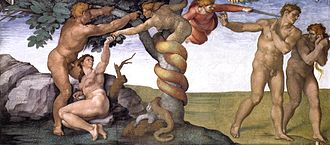 Sin - A Sistine Chapel fresco depicts the expulsion of Adam and Eve for transgressing God's command not to eat the fruit of the Tree of the knowledge of good and evil.