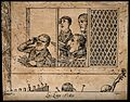 Four men and a woman in the audience of a theatre, seated in Wellcome V0015820.jpg