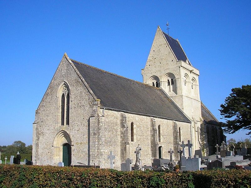 Brucheville (Normandie, France). L'église Saint-Hilaire.