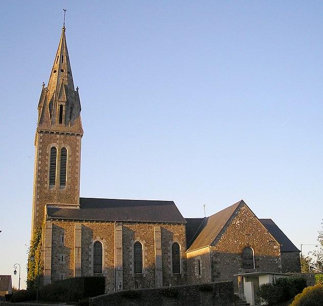 Le Grand-Celland (Normandie, France). L'église Saint-Médard.