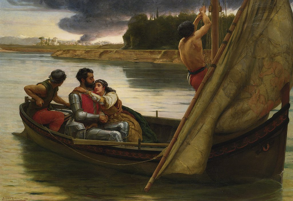 Frank William Warwick Topham Voyage of King Arthur and Morgan Le Fay to the Isle of Avalon 1888
