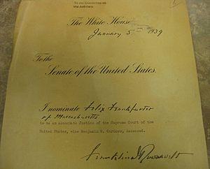Felix Frankfurter - Frankfurter's Supreme Court nomination