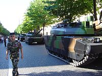 Every year on Bastille Day, a large military parade is staged before the President of the Republic.