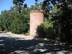 Cylindrical red brick building