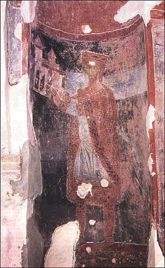 Vojislavljević dynasty - Fresco of Mihailo I in the Church of St. Michael in Ston.