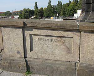 Friedrichs Bridge - Inscription noting the new build of 1981-2