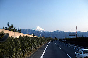 Transport in Japan - Mount Fuji seen from the Chuo Expressway