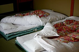 Futon - Japanese-style futons laid out for sleeping in an inn