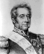 Print shows a man with wavy hair and long sideburns looking directly at the viewer. He wears a dark military uniform with loks of gold lace.