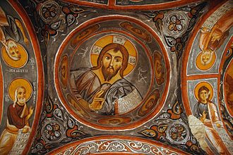 Cappadocia - Fresco of Christ Pantocrator on the ceiling of Karanlık Kilise Churches of Göreme.