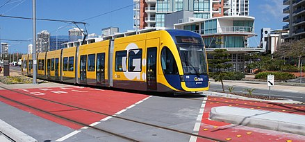 Gold Coast's G:Link Light Rail runs on a mix of dedicated right of way, tunnels and at grade intersections GCLR Set 9 at Broadwater Parklands 2014-09-28.jpg