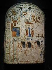 Estela funeraria de Shespy, hallada en Abidos. Museo de Alejandría, Egipto