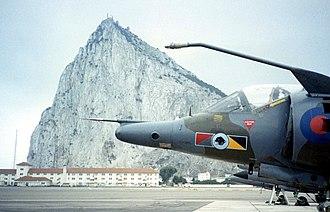 RAF Gibraltar - A RAF Harrier GR3, of No. 233 OCU on front of the Rock of Gibraltar.