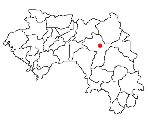 Location of Kouroussa Prefecture and seat in Guinea.
