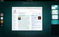 GNOME Shell 3.14 showing workspaces in overview mode.png