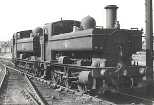 GWR 1366 Class - GWR 1366 Class 0-6-0PT No. 1367 at Weymouth in 1961. Note the outside cylinders - the 0-6-0PT behind has the more common inside cylinder arrangement