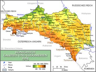 Kartta Galician ja Lodomerian kuningaskunnasta (1846–1918)