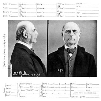 Anthropometry - A Bertillon record for Francis Galton, from a visit to Bertillon's laboratory in 1893