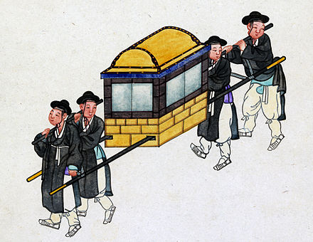 In Korea, royalty and yangban aristocrats were carried in litters called gama. A Korean gama, circa 1890. Gama2 crop.jpg