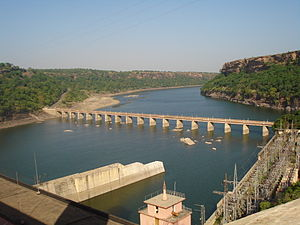 Gandhi Sagar Dam - The power station on the right bank of the dam and the downstream bridge across the Chambal River.