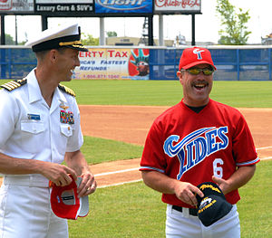Gary Allenson - Allenson, then manager of the Norfolk Tides,  with U.S. Navy Captain Kevin O'Flaherty