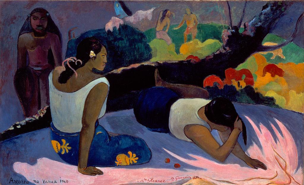 """Toile de Gauguin """"Arearea no varua ino"""" ou """"Taitiennes inclinées"""" (1894) au Musée Ny Carlsberg Glyptotek de Copenhague."""