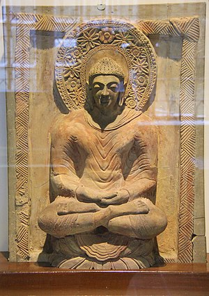 Mirpur Khas - Buddha statue made of terracotta dating back to the 5th century CE. The statue was found in Mirpur Khas and is on display at the Prince of Wales Museum in Mumbai.
