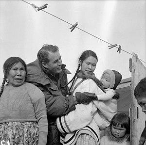 George Hees - Hees visiting Inuit in Frobisher Bay, Northwest Territories, 1958.