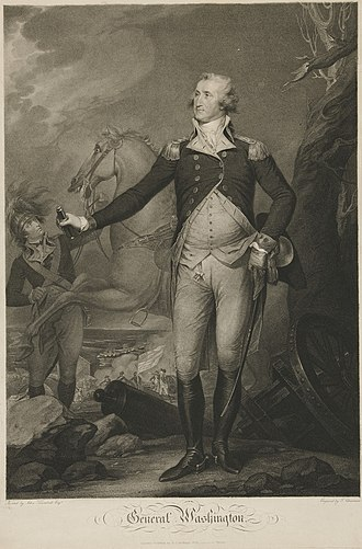 General George Washington at Trenton - Image: George Washington, engraving by Cheesman, after Trumbull