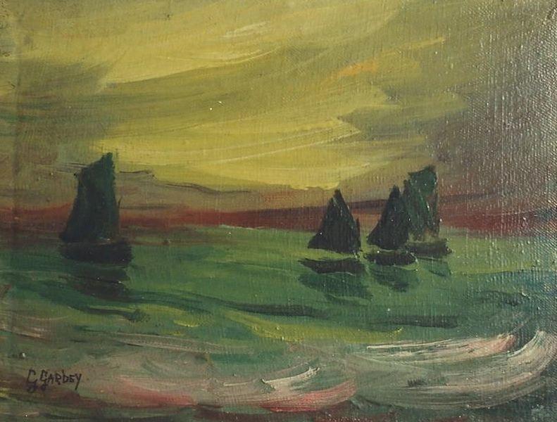 File germaine gardey 1904 1995 bateaux verts au couchant for Peinture sur toile