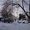 Gezicht op de Dreifaltigkeitskirche in Dommelstadl in de sneeuw met op het pad e, Bestanddeelnr 255-9837.jpg