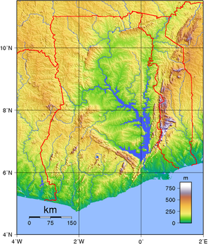 Outline of Ghana - An enlargeable topographic map of Ghana