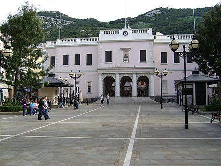 The Gibraltar House of Assembly (now the Gibraltar Parliament), established in 1969. Gibraltar Parliament 2.jpg