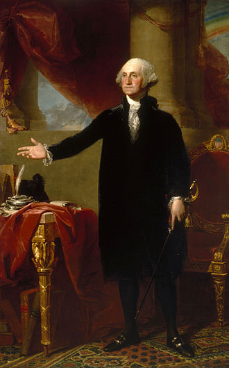 History of the United States (1789–1849) - George Washington, first U.S. President. (Lansdowne portrait by Gilbert Stuart)