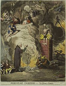 "A man is kneeling before an altar where papers are burning, fanned by a fool. The smoke contains a variety of fanciful images. A mall gnome, sitting in a volume with the word ""subscribers"" on it, holds two moneybags."