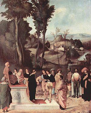 The Test of Fire of Moses (Giorgione) - Image: Giorgione 025