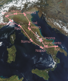 Route of the 13th Giro d'Italia.