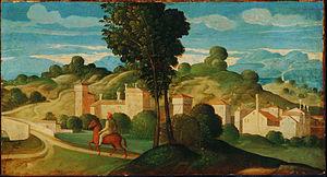 Girolamo da Santacroce - Landscape with Rider