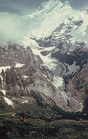 The Upper Grindelwald Glacier and the Schreckhorn, in Switzerland, showing accumulation and ablation zones