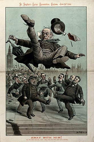 "A political cartoon depicting Gladstone ""kicked out of office"" in 1886 Gladstone being kicked in the air by angry men Wellcome V0050369.jpg"