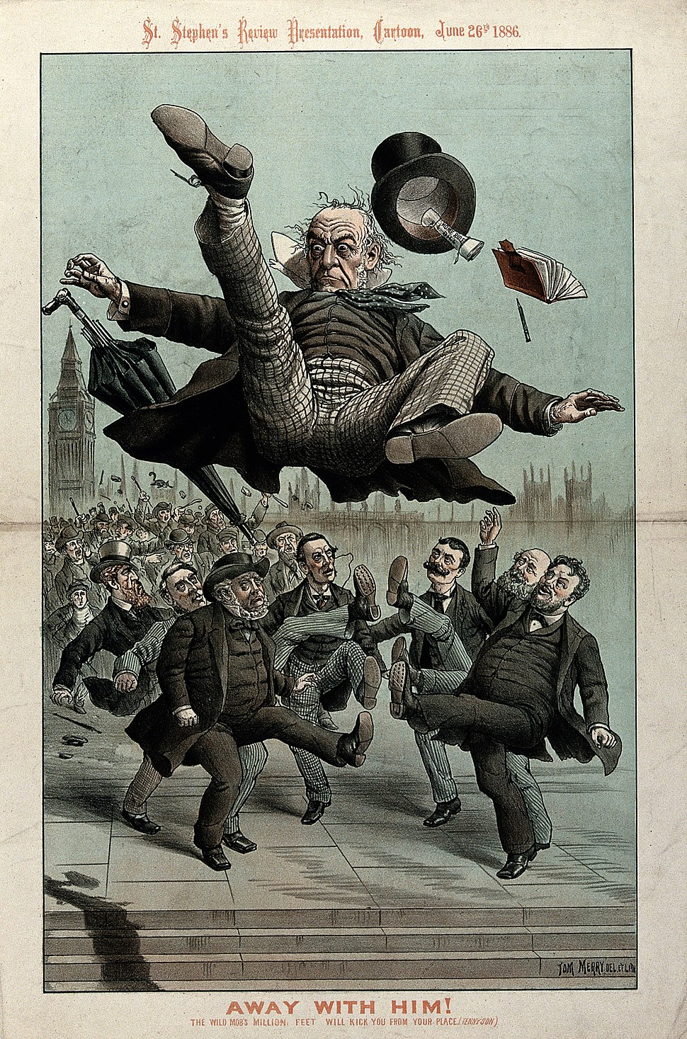 Gladstone being kicked in the air by angry men Wellcome V0050369
