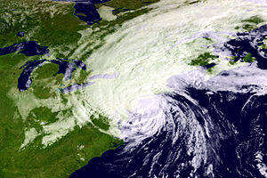 Hurricane Gloria - Satellite image of Gloria nearing New England